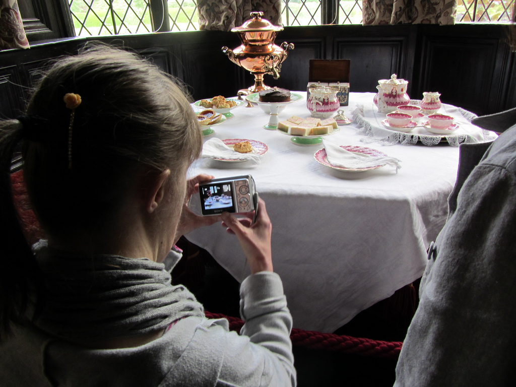 Angela photos tea at Speke Hall