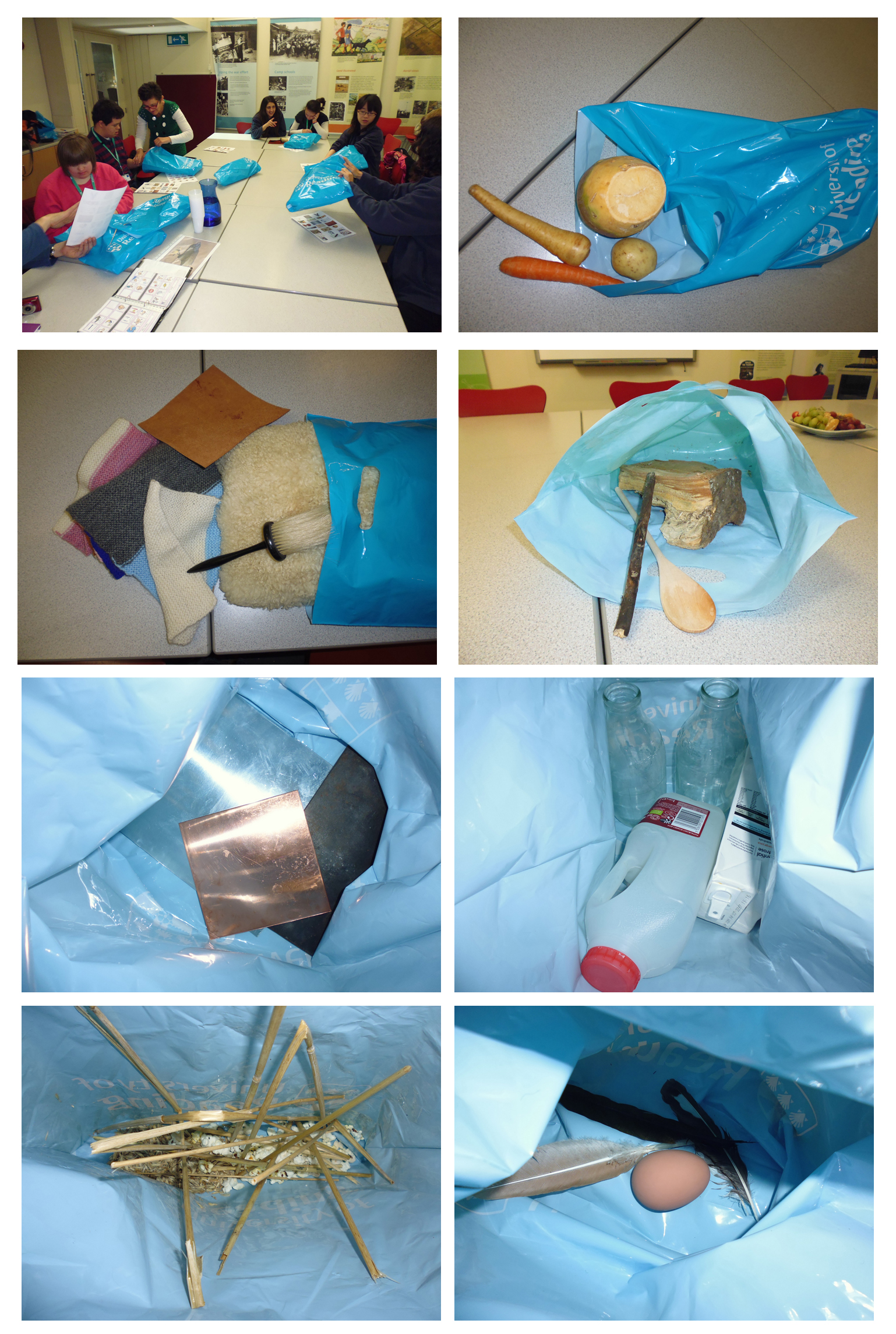 Seven bags with materials inside