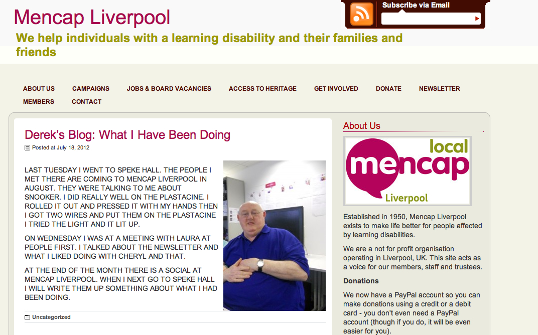 Derek Blogging on Liverpool Mencaps Site