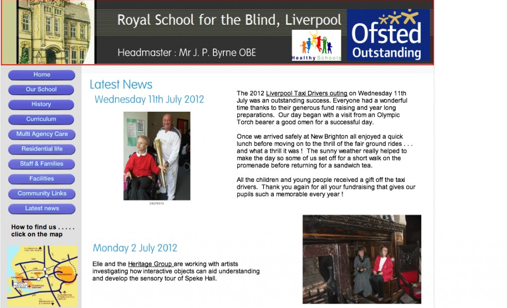 Elle on Royal school for Blind Webpage