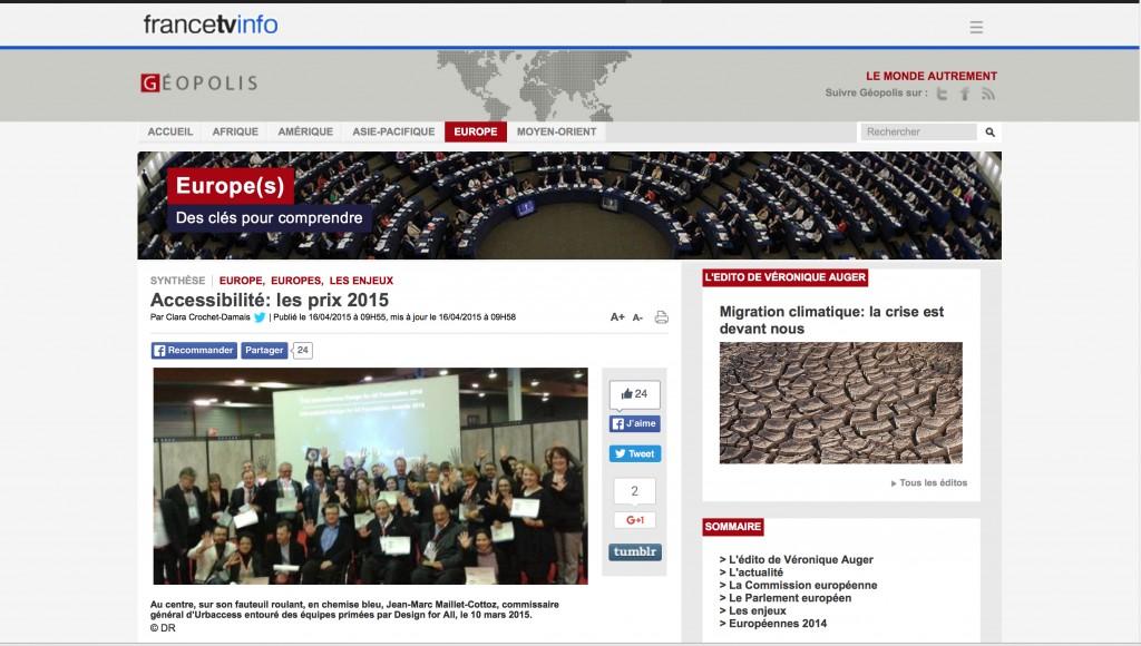 FranceTVinfoPage report on Design for All Foundation Award