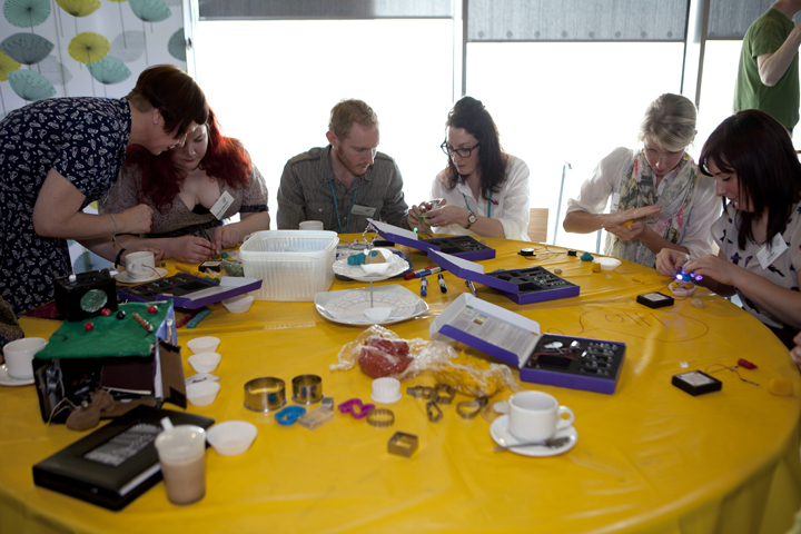 Seminar delegates trying out squishy circuits workshop